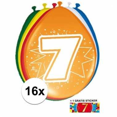 Feest ballonnen met 7 jaar print 16x + sticker
