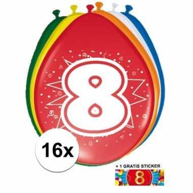 Feest ballonnen met 8 jaar print 16x + sticker