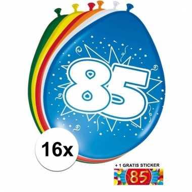 Feest ballonnen met 85 jaar print 16x + sticker