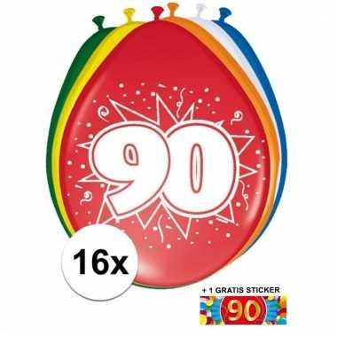 Feest ballonnen met 90 jaar print 16x + sticker