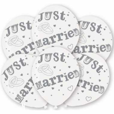 Feest ballonnen net getrouwd wit 6 stuks