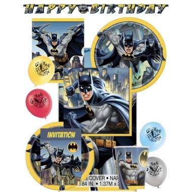 Feest batman decoratie/versiering pakket voor kinderfeestje met 8 kin