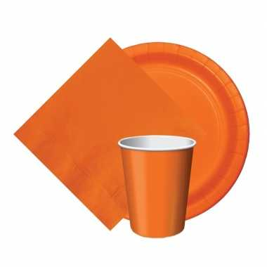 Feest decoratie pakket oranje 8 bekertjes/8 bordjes/20 servetjes