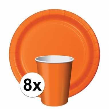 Feest decoratie pakket oranje holland supporter/fan 8 bekertjes en bo