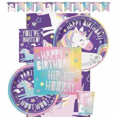 Feest eenhoorn decoratie/versiering pakket voor kinderfeestje met 8 k