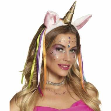 Feest eenhoorn hoofdband met gouden hoorn
