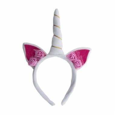 Feest eenhoorn hoofdband wit/roze