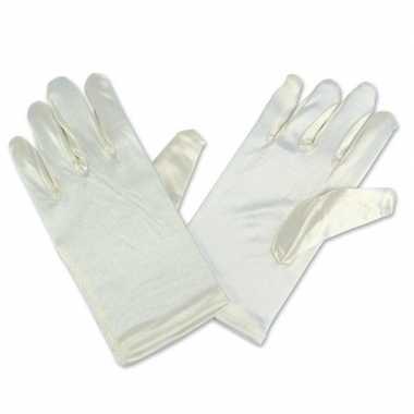 Feest handschoenen king of pop ivoor/wit satijn voor kinderen