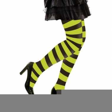 Feest/party gestreepte heksen panty maillot zwart/felgroen voor dames