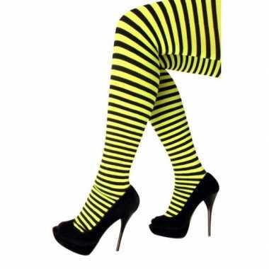 Feest/party gestreepte heksen panty maillot zwart/geel voor dames