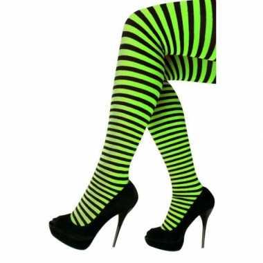 Feest/party gestreepte heksen panty maillot zwart/groen voor dames