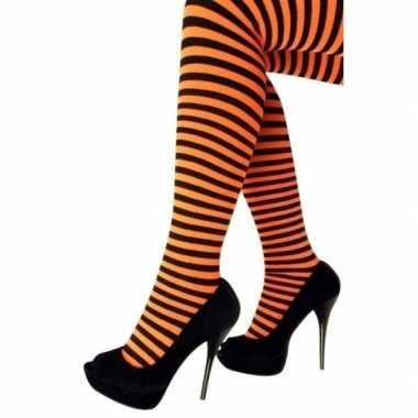 Feest/party gestreepte heksen panty maillot zwart/oranje voor dames