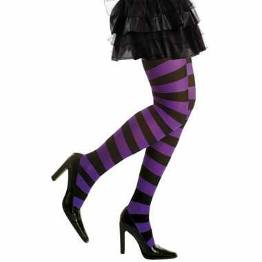 Feest/party gestreepte heksen panty maillot zwart/paars voor dames m/