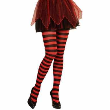 Feest/party gestreepte heksen panty maillot zwart/rood voor dames m/l