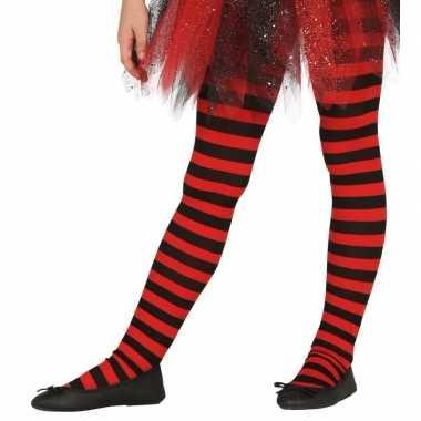 Feest/party gestreepte heksen panty maillot zwart/rood voor kinderen