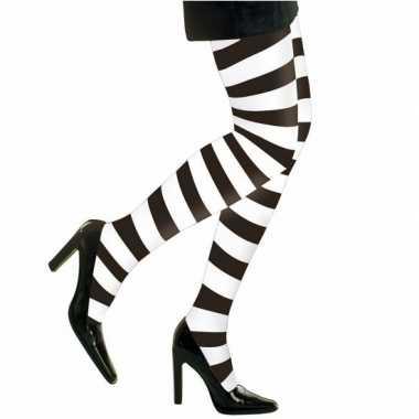 Feest/party gestreepte heksen panty maillot zwart/wit voor dames