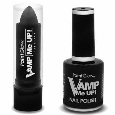 Feest/party vampieren make-up set nagellak/lipstick/lippenstift