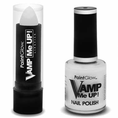 Feest/party zombie/walker make-up set nagellak/lipstick/lippenstift