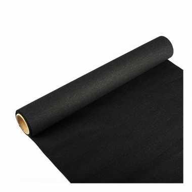Feest/party zwarte tafeldecoratie papieren tafelloper 300 x 40 cm