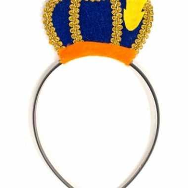 Feest pieten haarband met blauw baretje voor volwassenen