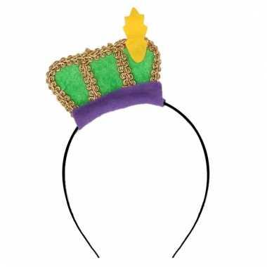 Feest pieten haarband met groen baretje voor kinderen