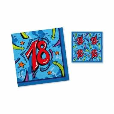 Feest servetten 18 jaar blauw