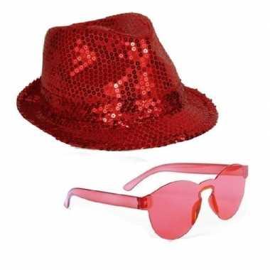 Feest setje rode glitter hoed met zonnebril