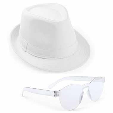 Feest setje witte trilby hoed met zonnebril