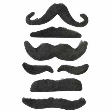 Feest snorretjes 6 stuks zwart type 2 voor kinderen