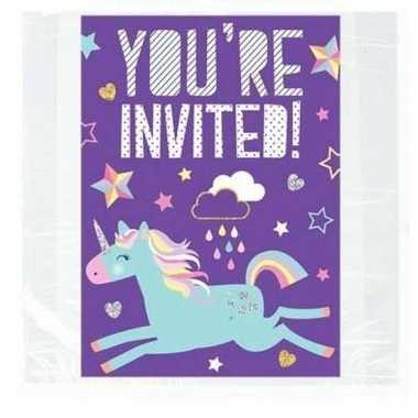 Feest uitnodigingen eenhoorn 8 stuks