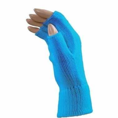 Feest vingerloze blauwe polsmofjes/handschoenen voor volwassenen