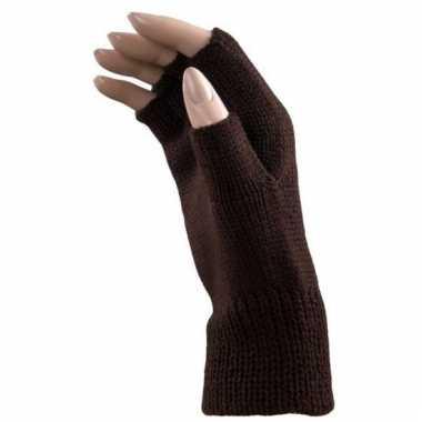 Feest vingerloze bruine polsmofjes/handschoenen voor volwassenen