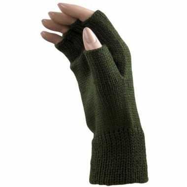 Feest vingerloze groene polsmofjes/handschoenen voor volwassenen