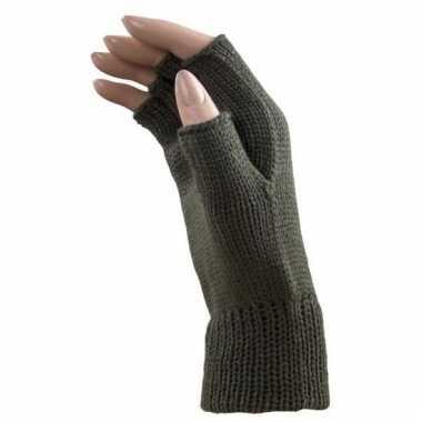 Feest vingerloze khaki groene polsmofjes/handschoenen voor volwassene