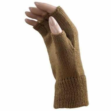 Feest vingerloze licht bruine polsmofjes/handschoenen voor volwassene