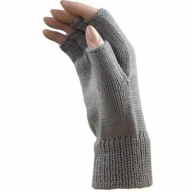 Feest vingerloze licht grijze polsmofjes/handschoenen voor volwassene