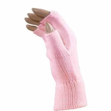 Feest vingerloze lichtroze polsmofjes/handschoenen voor volwassenen
