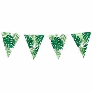 Feest vlaggenlijn met monstera en palm bladeren 150 cm