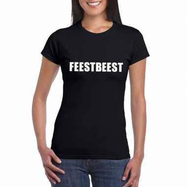 Feestbeest fun t-shirt zwart voor dames
