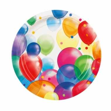 Feestelijke wegwerpbordjes met ballonnenopdruk karton 23cm 8st