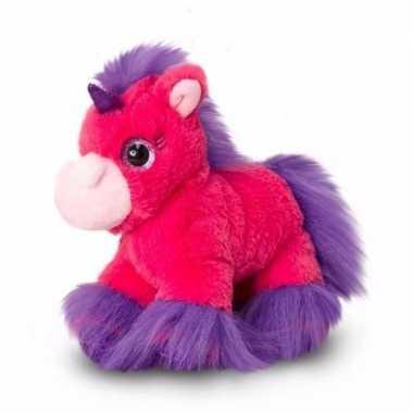 Fel roze eenhoorns knuffel 18 cm