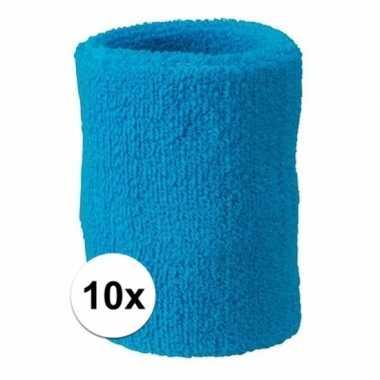 Felblauwe polsbandjes 10 stuks