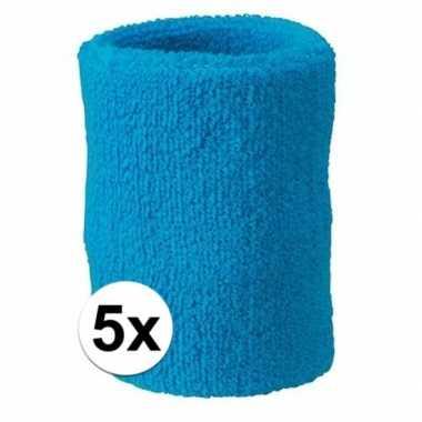 Felblauwe polsbandjes 5 stuks