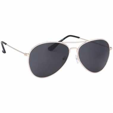 Festival/feest aviator zonnebril goud voor volwassenen
