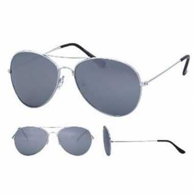 Festival/feest aviator zonnebril zilver voor volwassenen