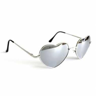 Festival/feest zonnebril hartjes zilver voor volwassenen