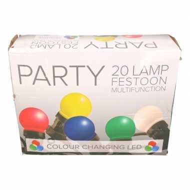 Festoon buiten lichtsnoer 12 meter met gekleurde rgb led lampjes