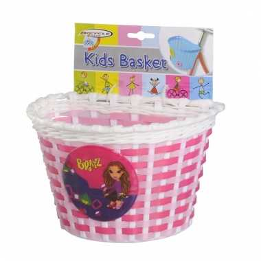 Fietsmandje voor kids roze/wit 20 cm