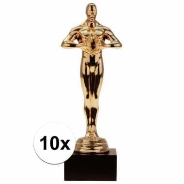 Film thema filmster prijs/beeldje/award goud 15 cm 10 stuks