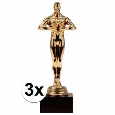 Film thema filmster prijs/beeldje/award goud 15 cm 3 stuks